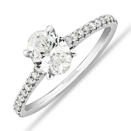 Oval Solitaire Engagement Ring with 1.12ct TW of Diamonds in 14ct White Gold