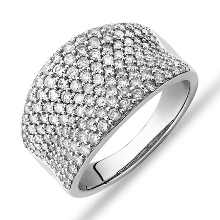 Pave Classic Ring with 1.50 Carat TW Diamond in 14ct White Gold