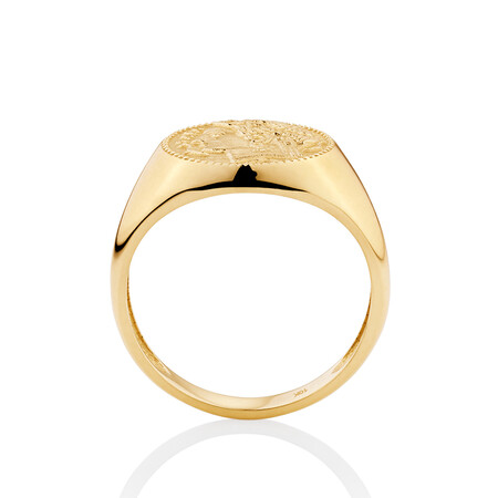 Small Coin Ring in 10ct Yellow Gold