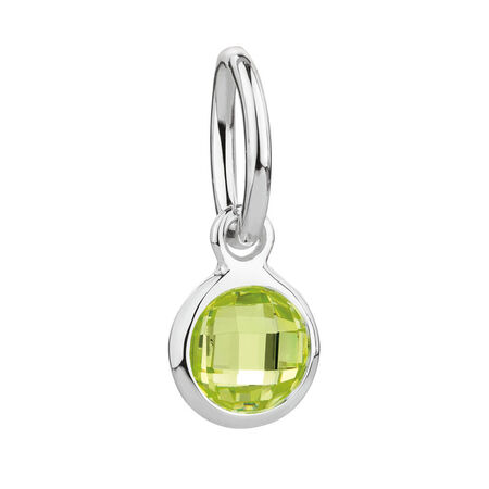 August Mini Pendant with Light Green Cubic Zirconia in Sterling Silver