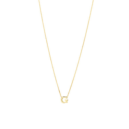 """""""G"""" Initial Necklace in 10ct Yellow Gold"""