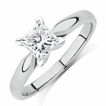 Evermore Solitaire Engagement Ring with 1 Carat TW Diamond in 14ct White Gold