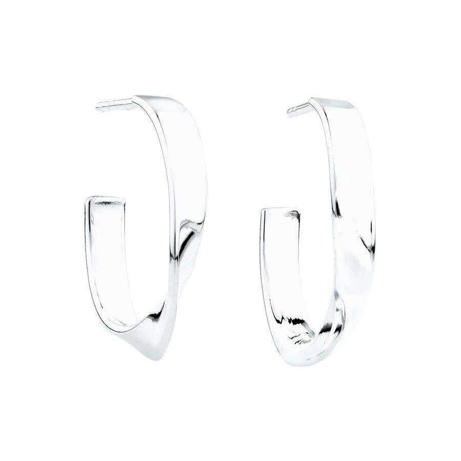 Twist Hoop Earrings in Sterling Silver