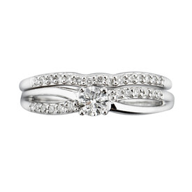 Bridal set with 0.42 Carat TW of Diamonds in 10ct White Gold