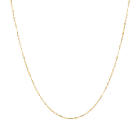 """40cm (16"""") Singapore Chain in 10ct Yellow Gold"""