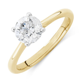 Evermore Certified Solitaire Engagement Ring with 1 Carat TW Diamond in 14ct Yellow & White Gold