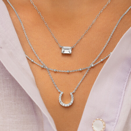 Horseshoe Pendant with Cubic Zirconia in Sterling Silver