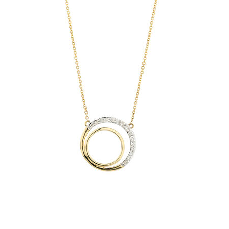 Online Exclusive - Circle Pendant with Diamonds in 10ct Yellow Gold