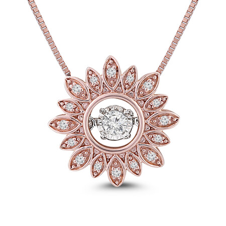 Everlight Pendant with 0.15 Carat TW of Diamonds in 10ct Rose Gold