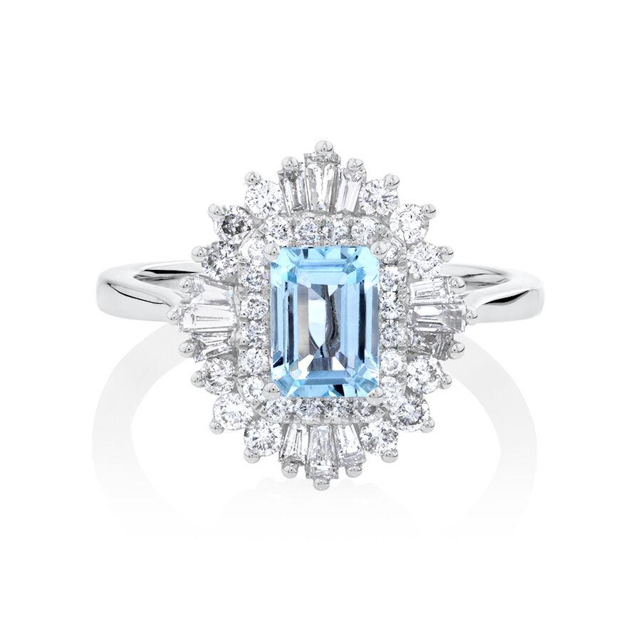 Aquamarine Ring with 0.75 Carat of Diamonds in 10ct White Gold
