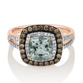 Ring with Aquamarine & 0.34 Carat TW of White & Brown Diamonds in 14ct Rose Gold