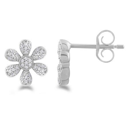 Flower Stud Earrings with 0.16 Carat TW Of Diamonds in 10ct White Gold