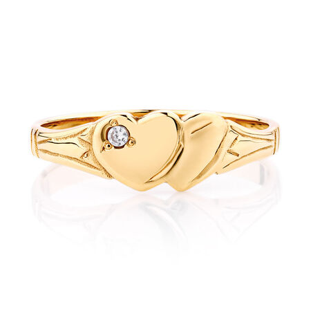 Double Heart Signet Ring Set with a Cubic Zirconia in 10ct Yellow Gold