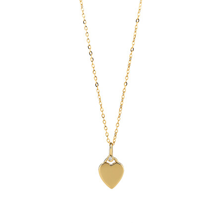 Heart Pendant with Diamond in 10ct Yellow Gold