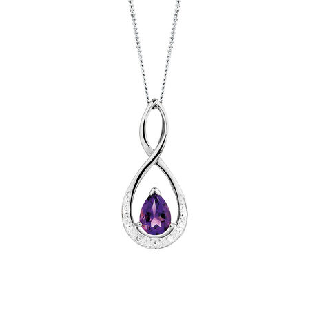 Pendant with Amethyst & Diamond in 10ct White Gold