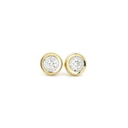 Circle Stud Earrings with 0.33 Carat TW of Diamonds in 10ct Yellow Gold