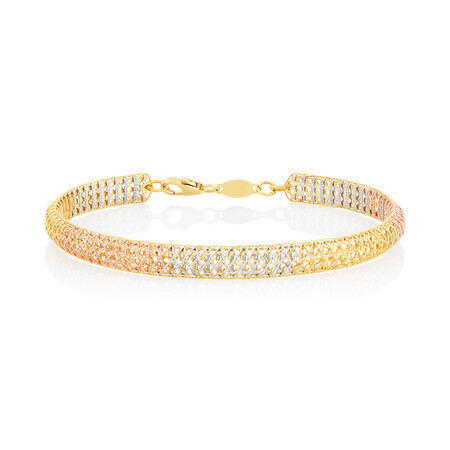 Lattice Bangle in 18ct Yellow, Rose & White Gold