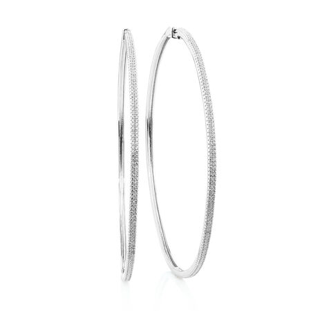 90mm Square Hoop Earrings with Cubic Zirconia in Sterling Silver
