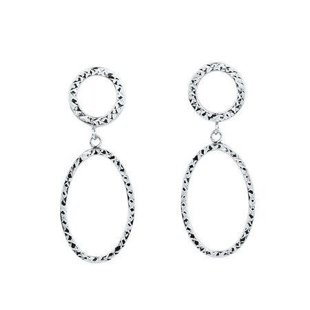 Oval Patterned Earrings in 10ct White Gold