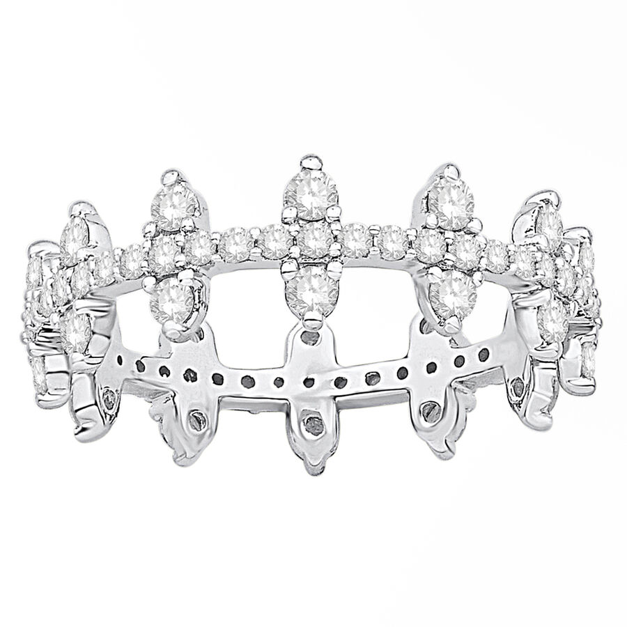 Zipper Ring with 1.00 Carat TW of Diamonds in Sterling Silver