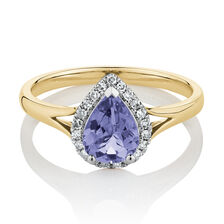Pear Ring with Natural Tanzanite & Diamonds in 10ct Yellow Gold