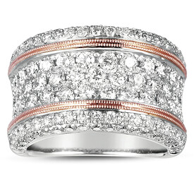Ring with 2.45 Carat TW of Diamonds in 14ct White & Rose Gold