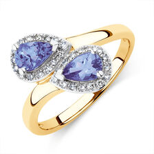Ring with Tanzanite & 0.15 Carat TW of Diamonds in 10ct Yellow Gold