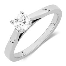 Online Exclusive - Certified Solitaire Engagement Ring with a 0.45 Carat Diamond in 14ct White Gold