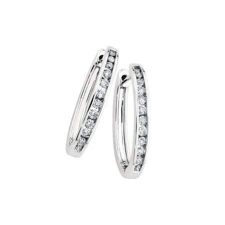 Hoop Earrings with 1/2 Carat TW of Diamonds in 10ct White Gold