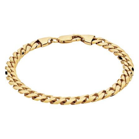 "21cm (8.5"") Men's Curb Bracelet in 10ct Yellow Gold"