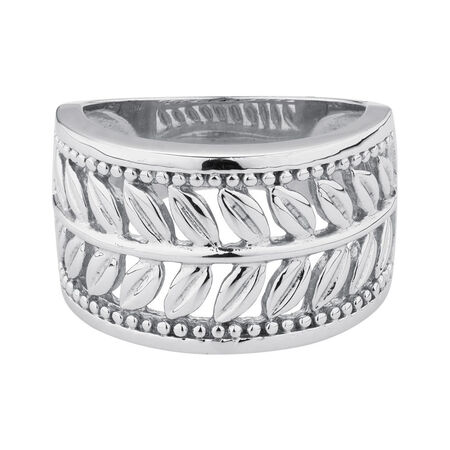 Online Exclusive - Leaf Patterned Ring in Sterling Silver
