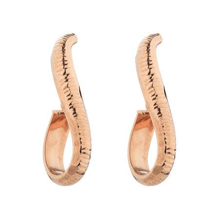 Online Exclusive - Patterned Hoop Earrings in 10ct Rose Gold