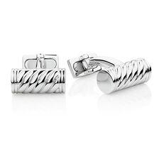 Weave Pattern Cuff Links in 925 Sterling Silver