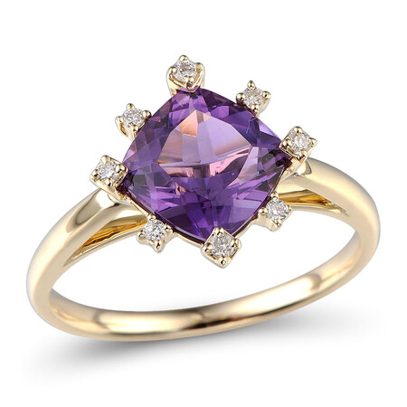 Ring with Amethyst & Diamond in 10ct Yellow Gold