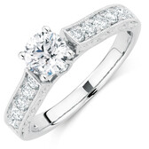 Engagement Ring with 1.19 Carat TW of Diamonds in 14ct White Gold