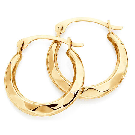 14mm Patterned Hoop Earrings In 10ct Yellow Gold