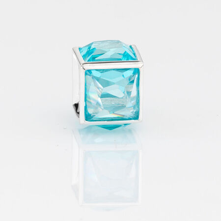 Online Exclusive - Square Charm with Aqua Cubic Zirconia in Sterling Silver