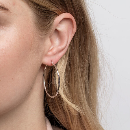 38mm Square Twist Hoop Earrings in 10ct White Gold