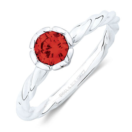 July Stacker Ring with Red Cubic Zirconia in Sterling Silver