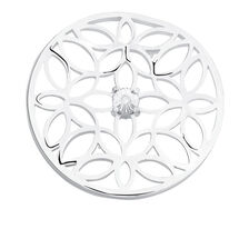 Diamond Set Flower Coin Insert in Sterling Silver