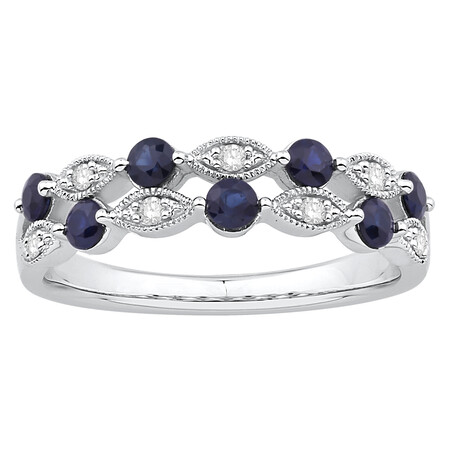 Two Row Ring with Sapphire & Diamond in 10ct White Gold