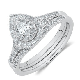 Evermore Bridal Set with 0.60 Carat TW of Diamonds in 10ct White Gold