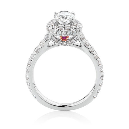 Michael Hill Designer GrandAllegro Engagement Ring with 2 Carat TW of Diamonds in 14ct White Gold