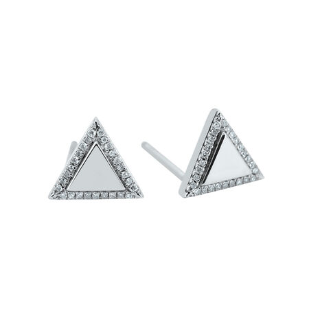 Triangle Halo Stud Earrings with Diamonds in Sterling Silver