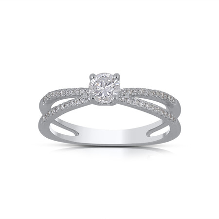 Ring with 0.50 Carat TW of Diamonds in 14ct White Gold