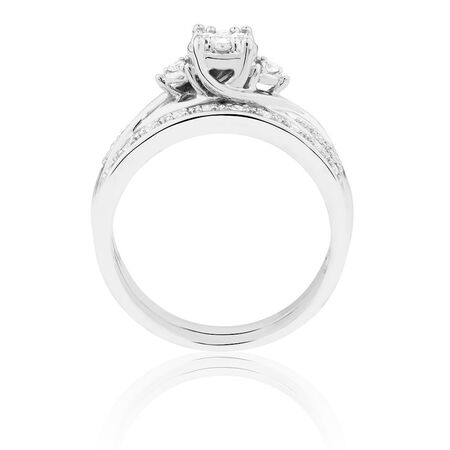 Promises of Love Bridal Set with 1/4 Carat TW of Diamonds in 10ct White Gold