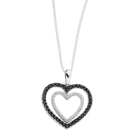 Online Exclusive - Pendant with 1/2 Carat TW of White & Enhanced Black Diamonds in 10ct White Gold