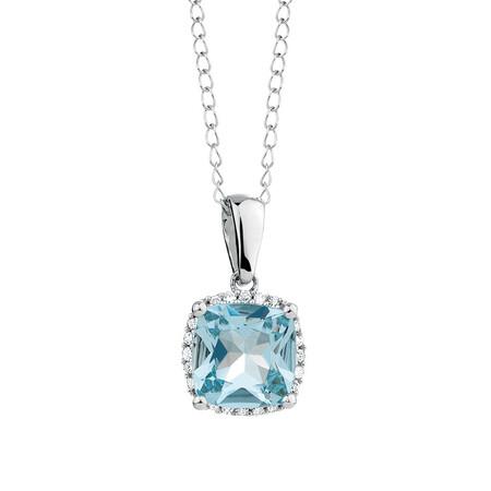 Pendant with Aquamarine & Diamond in 10ct White Gold