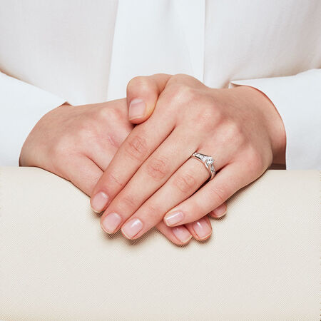 Online Exclusive - Engagement Ring with 0.95 Carat TW of Diamonds in 14ct White Gold