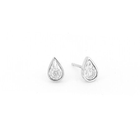 Pear Stud Earrings with 0.15 Carat TW of Diamonds in 10ct White Gold